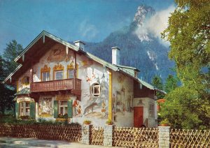 Typical ornate home in Oberammergau, West Germany, site of the Passion Play