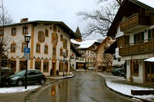 Streets of Oberammergau, West Germany, site of the Passion Play