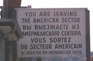 American side warning Berlin Wall