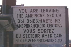 American side warning Berlin Wall